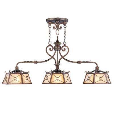 Providence 3-Light Palatial Bronze with Gilded Accents Incandescent Island Ceiling Pendant
