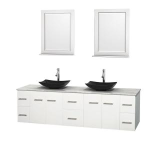 Wyndham Collection Centra 80 inch Double Vanity in White with Marble Vanity Top in Carrara White, Black Granite Sinks... by Wyndham Collection