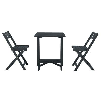 Gallo Dark Slate Grey 3-Piece Wood Outdoor Bistro Set