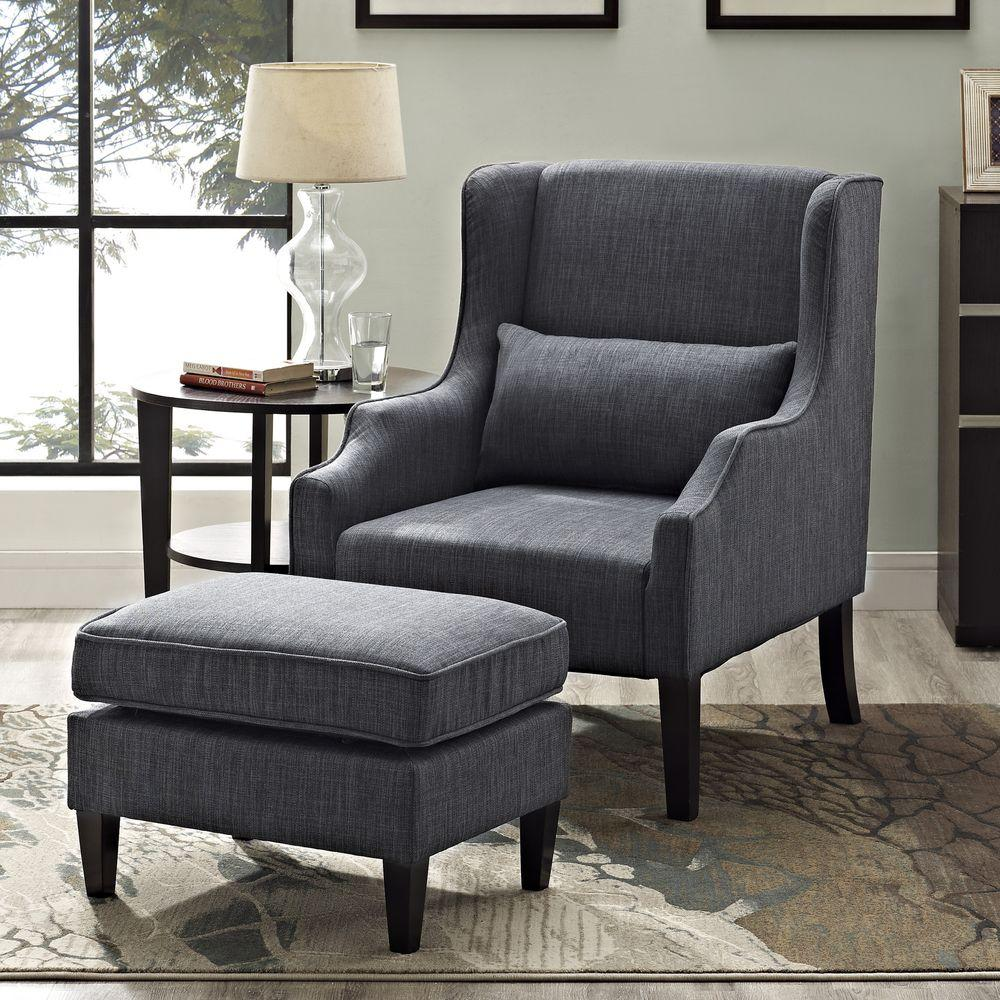 Ashbury Wingback Linen Look Polyester Club Chair With Ottoman In Slate Grey 2 Piece