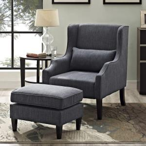 Simpli Home Ashbury Wingback Linen Look Polyester Club Chair with Ottoman in Slate Grey (2-Piece) by Simpli Home
