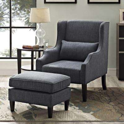 Ashbury Wingback Linen Look Polyester Club Chair with Ottoman in Slate Grey (2-Piece)