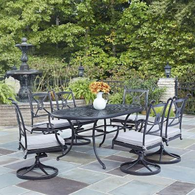 Marvelous 7 Piece Cast Aluminum Patio Dining Set 48 In Round Table 4 Home Interior And Landscaping Eliaenasavecom