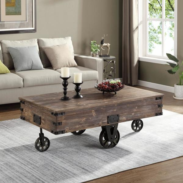 Firstime Co 48 In Rustic Espresso Large Rectangle Wood Coffee Table With Casters 70084 The Home Depot