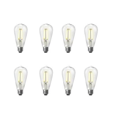 60W Equivalent ST19 Dimmable LED Clear Glass Vintage Edison Light Bulb With Straight Filament Warm White (8-Pack)