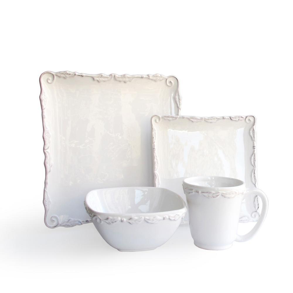 16-Piece White Bianca Wave Dinnerware Set