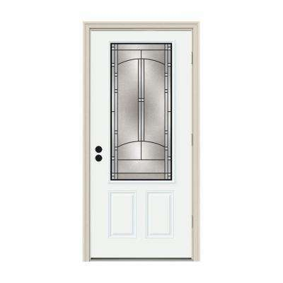 36 in. x 80 in. 3/4 Lite Idlewild White Painted Steel Prehung Left-Hand Outswing Front Door w/Brickmould