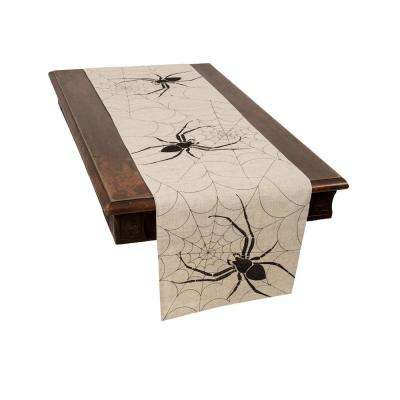 0.1 in. H x 15 in. W x 70 in. D Halloween Creepy Spiders Double Layer Table Runner in Natural