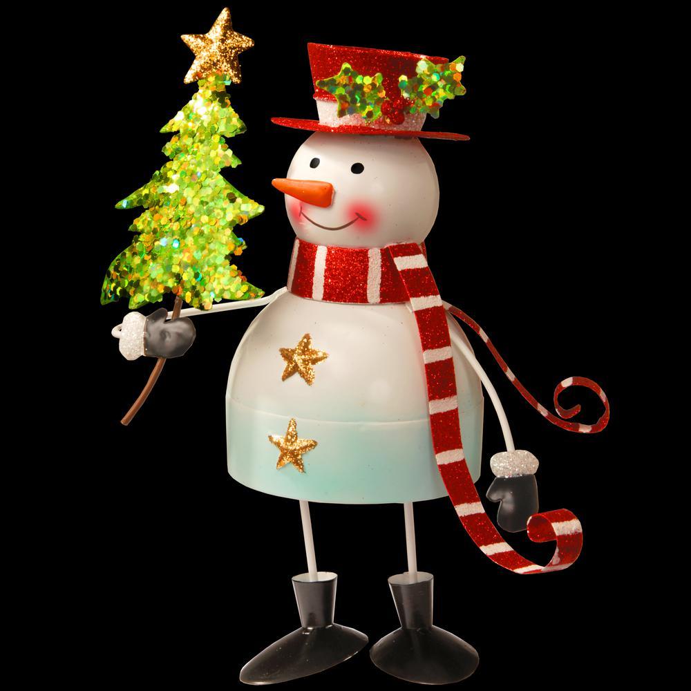 10 in. Metal Bobble Snowman