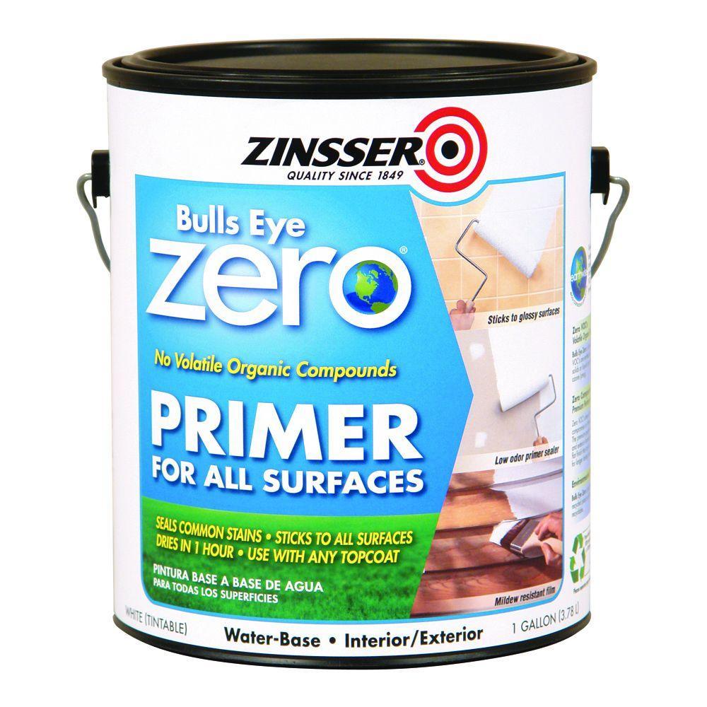 zinsser 1 gal bulls eye zero white water based interior exterior primer and sealer case of 2