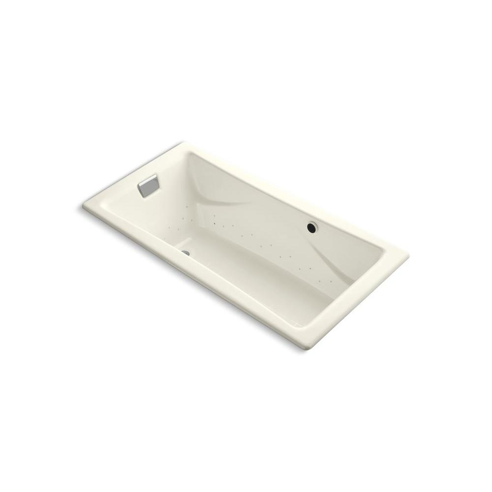 KOHLER Tea-for-Two 6 ft. Rectangle Air Bath Tub in Biscuit