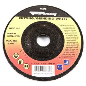Forney 4 inch x 1/8 inch x 5/8 inch Metal Type 27 A30R-BF Grinding Wheel by Forney