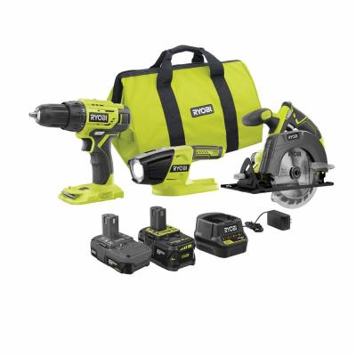 18-Volt ONE+ Lithium-ion Cordless 3-Tool Combo Kit with (1) 4.0 Ah Battery, (1) 1.5 Ah Battery, Charger, and Bag