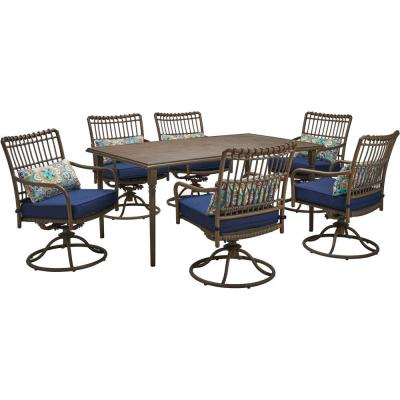 Summerland Faux-Wood 7-Piece Aluminum Outdoor Dining Set with Navy Cushions 6 Swivel Rockers and a 68 in. x 40 in. Table