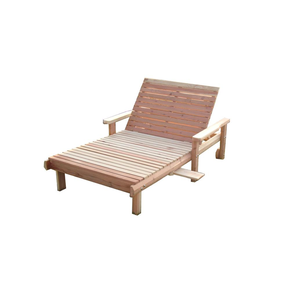 Wide Beach Clear Redwood Outdoor Chaise Lounge-CLSMWB ...