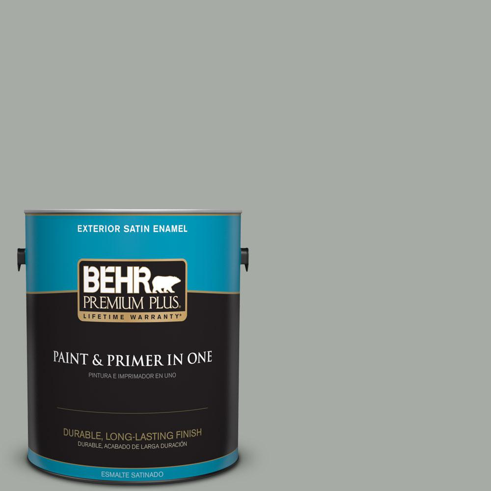 BEHR Premium Plus 1-gal. #ECC-35-1 Silver Clouds Satin Enamel Exterior Paint