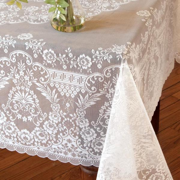 Heritage Lace Filigree Square White Polyester Tablecloth FI 6262W   The  Home Depot
