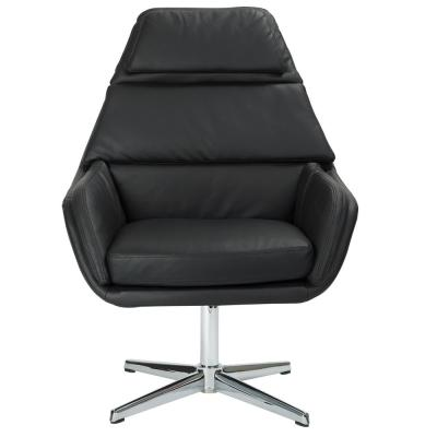 Guest Black Faux Leather Chair with Chrome Base