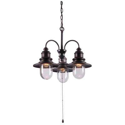 Broadcast 3-Light 21 in. Oil-Rubbed Bronze Chandelier