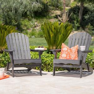 Obadiah Dark Grey Folding Wood Adirondack Chair (2-Pack)