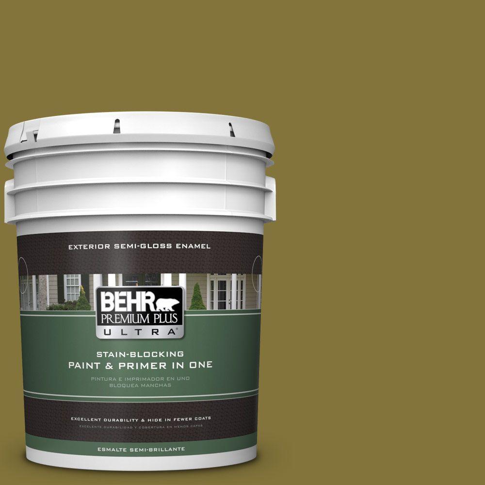 BEHR Premium Plus Ultra 5-gal. #390D-7 Marsh Grass Semi-Gloss Enamel Exterior Paint
