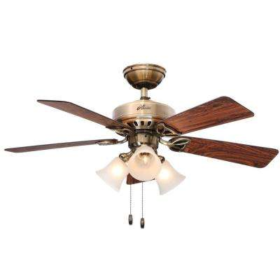 Beacon Hill 42 in. Indoor Antique Brass Ceiling Fan with Light