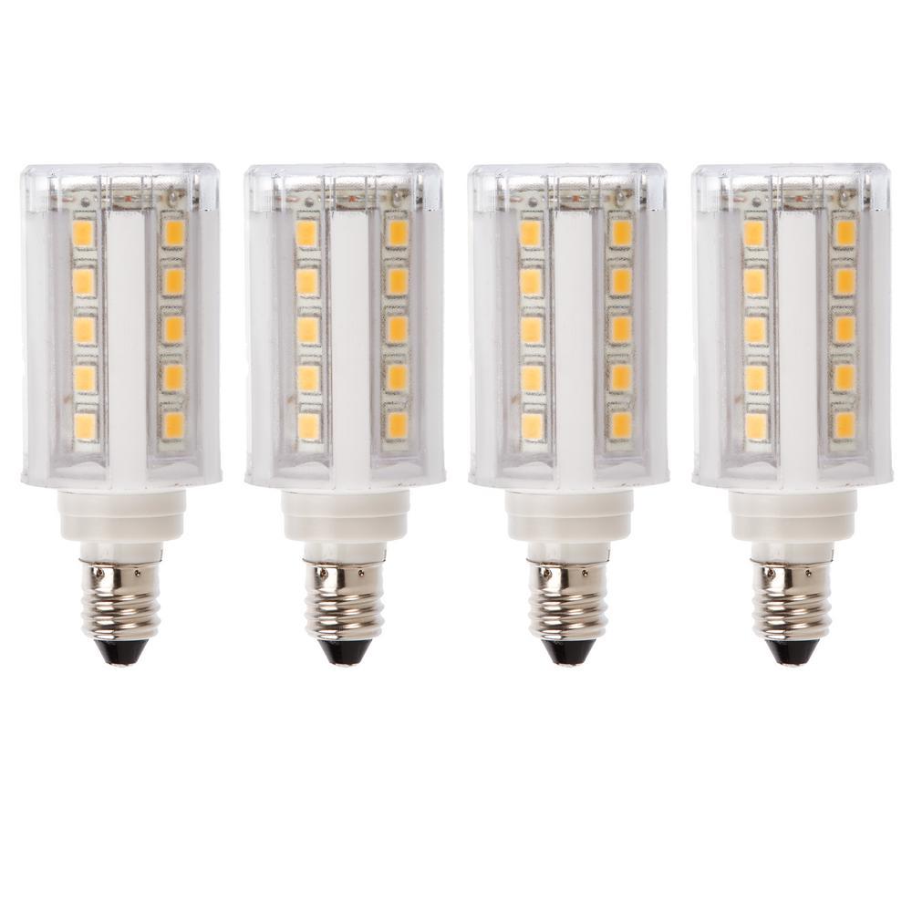 60-Watt Equivalent E11 Dimmable LED Light Bulb Warm White (4-Pack)