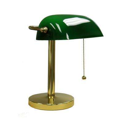 12.5 in. Gold/Green Bankers Lamp
