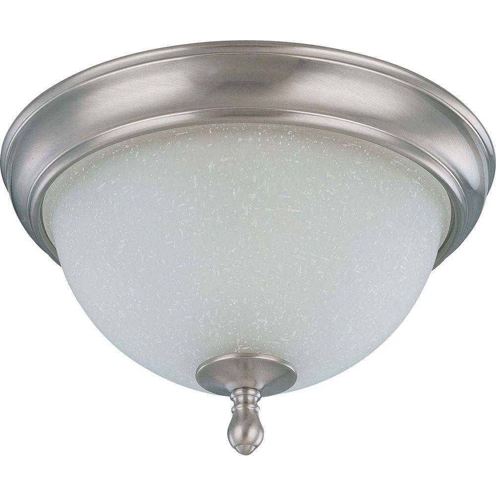 Glomar 2-Light Brushed Nickel Flush Dome with Frosted Linen Glass