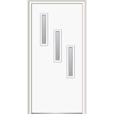 32 in. x 80 in. Davina Right-Hand Inswing 3-Lite Frosted Modern Painted Steel Prehung Front Door on 6-9/16 in. Frame