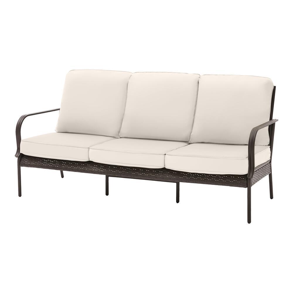 Becker Dark Mocha Steel Outdoor Patio Sofa with CushionGuard Almond Tan Cushions