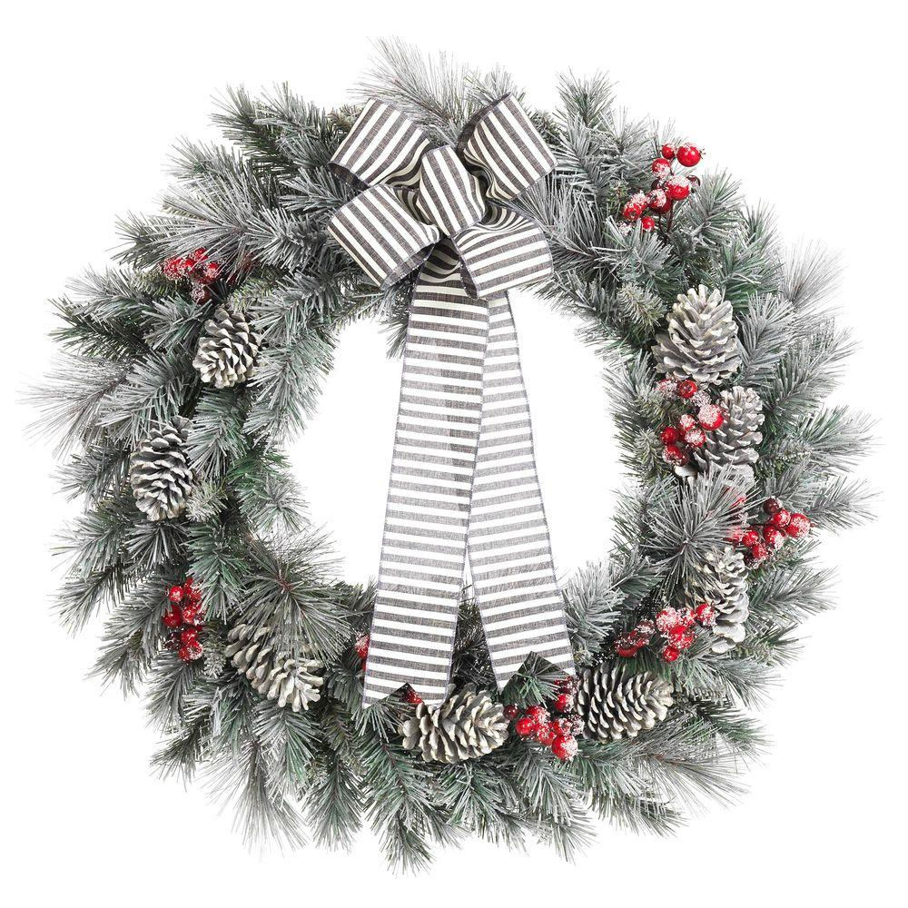 Home Accents Holiday: Home Accents Holiday 30 In. Snowy Pine Artificial Wreath