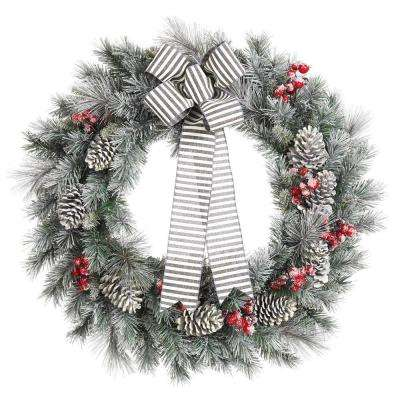 30 in. Snowy Pine Artificial Wreath with Pinecones and Berries