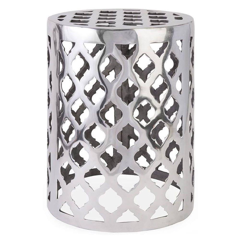 Home Decorators Collection Nichole 18 in. Patio Silver Garden Stool