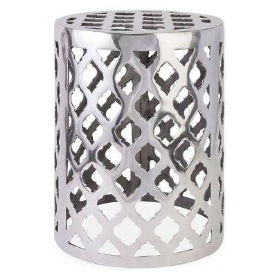 Nichole 18 in. Patio Silver Garden Stool