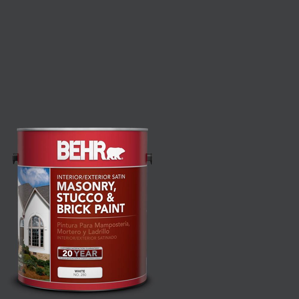 1 gal. #PFC-75 Tar Black Satin Interior/Exterior Masonry, Stucco and Brick Paint