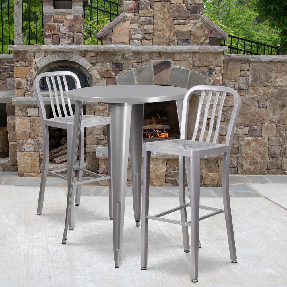 Silver 3-Piece Metal Round Outdoor Bistro Set