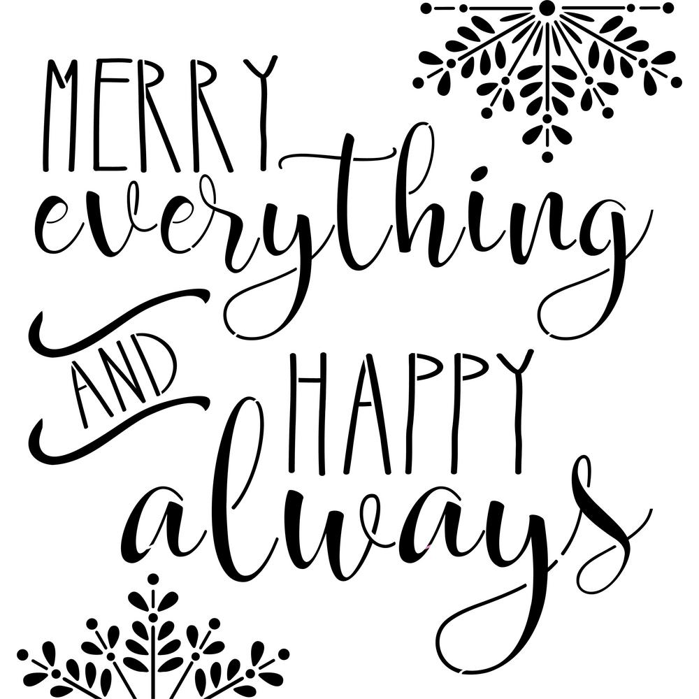 Merry Everything and Happy Always Sign Stencil, Beige