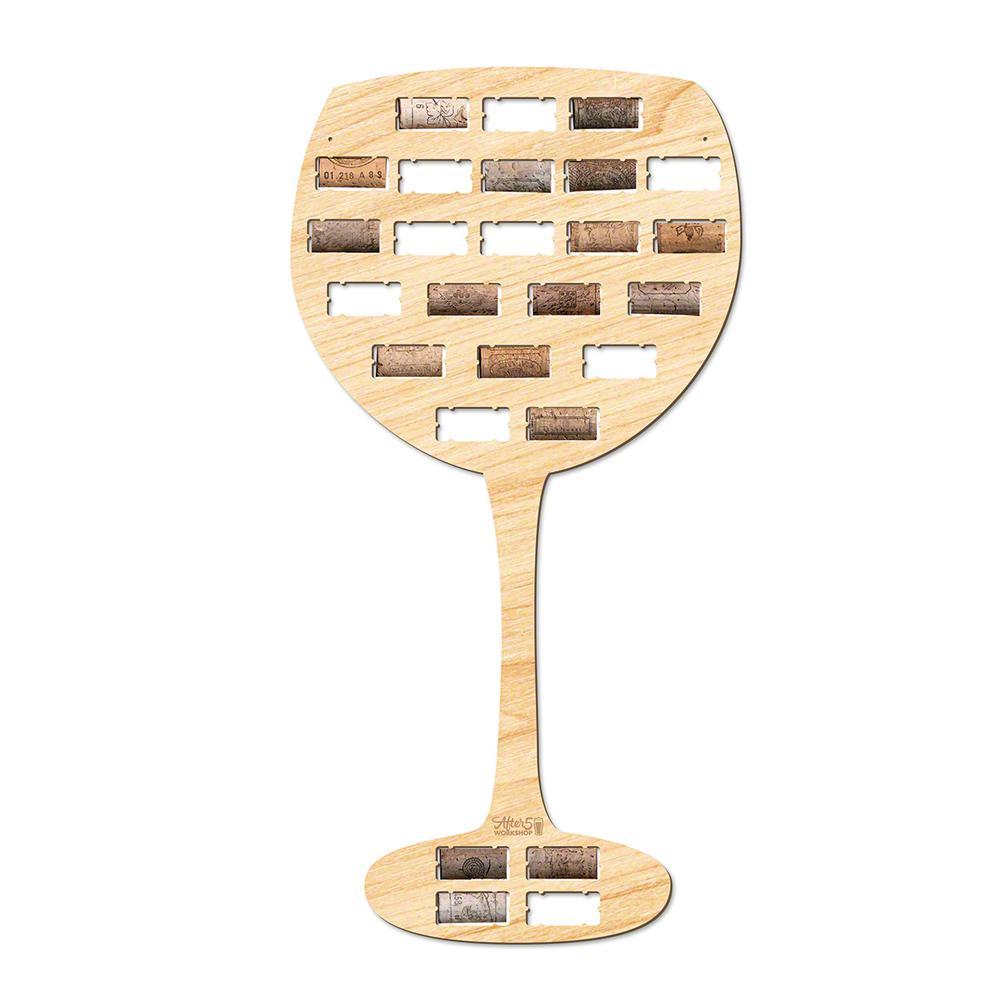 22.5 in. x 11.5 in. Wine Glass Shaped Wine Cork Holder