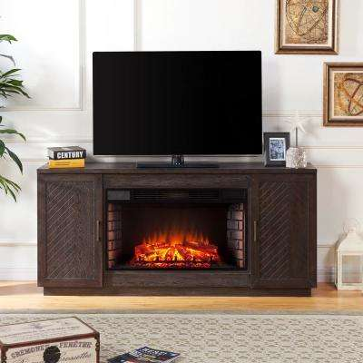 Torrens 65 in. Electric Fireplace TV Stand with 33 in. Widescreen Firebox in White Limed Espresso