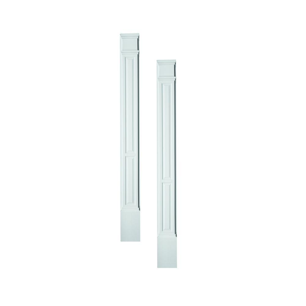 Fypon 3 in. x 9 in. x 90 in. Primed Polyurethane Double Panel Pilaster Moulding with Plinth Block