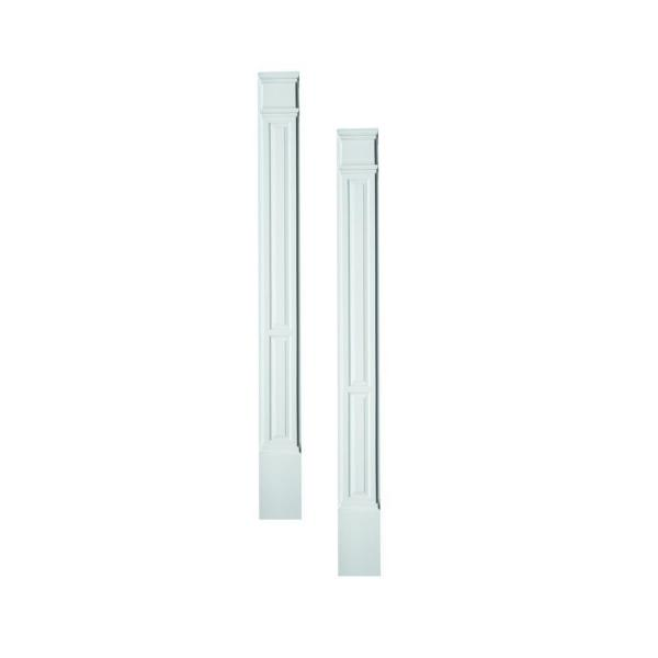 3 in. x 9 in. x 90 in. Primed Polyurethane Double Panel Pilaster Moulding with Plinth Block