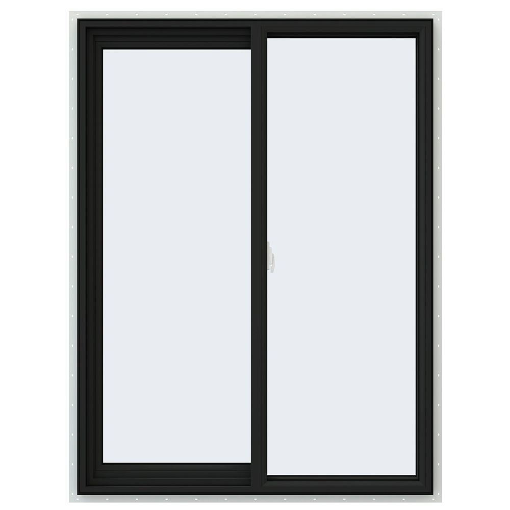 JELD-WEN 36 in. x 48 in. V-2500 Series Bronze FiniShield Vinyl Left-Handed Sliding Window with Fiberglass Mesh Screen