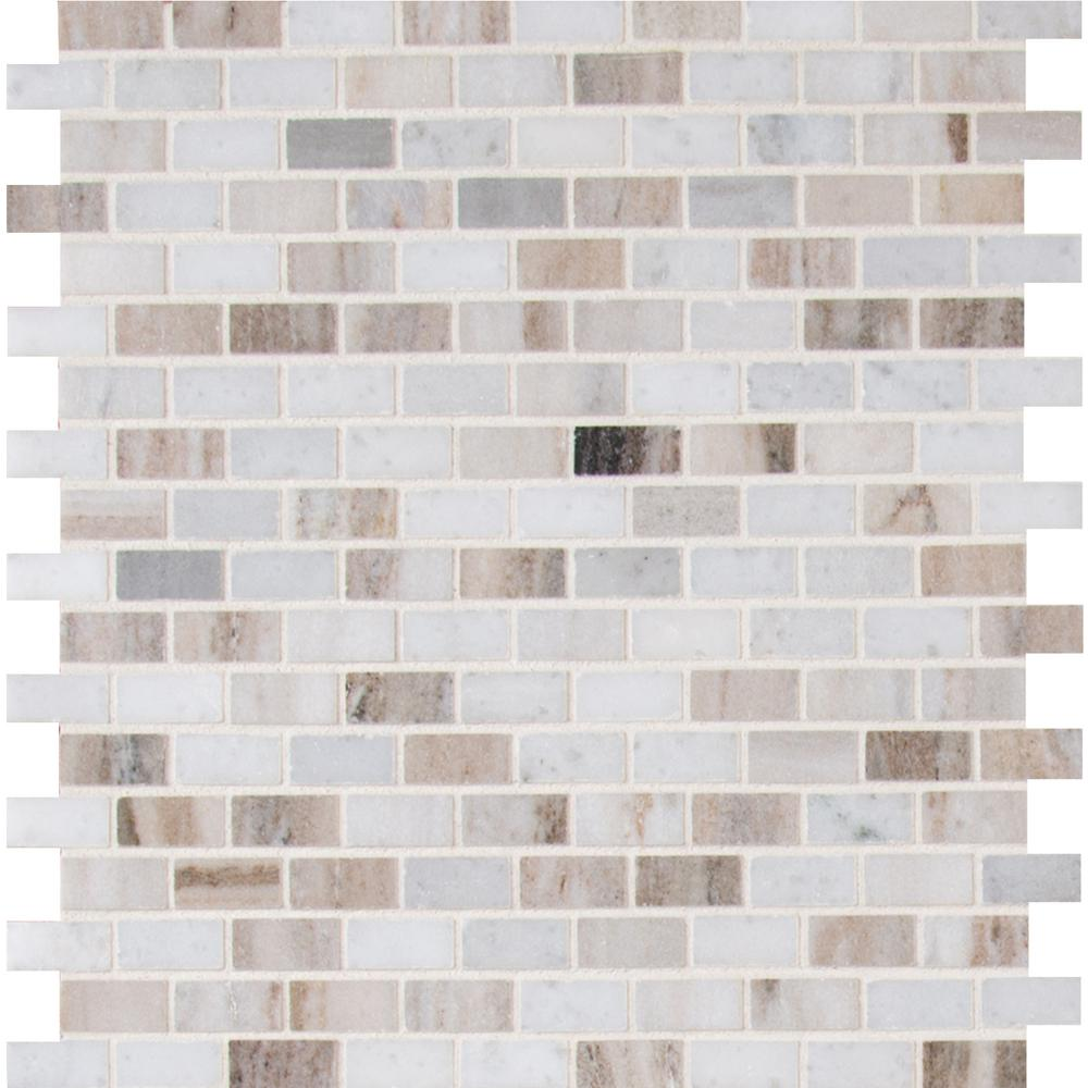 Msi Palisandro Mini Brick 12 In X 10 Mm Polished Marble