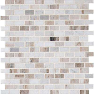Palisandro Mini Brick 12 in. x 12 in. x 10 mm Polished Marble Mesh-Mounted Mosaic Tile (10 sq. ft. / case)