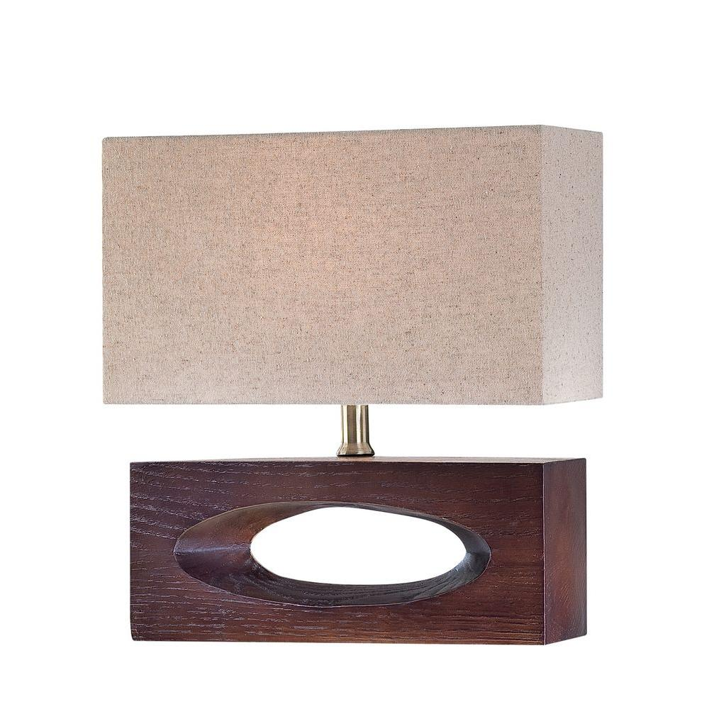 Illumine 13 in. 1-Light Walnut Table Lamp with Beige Fabric Shade