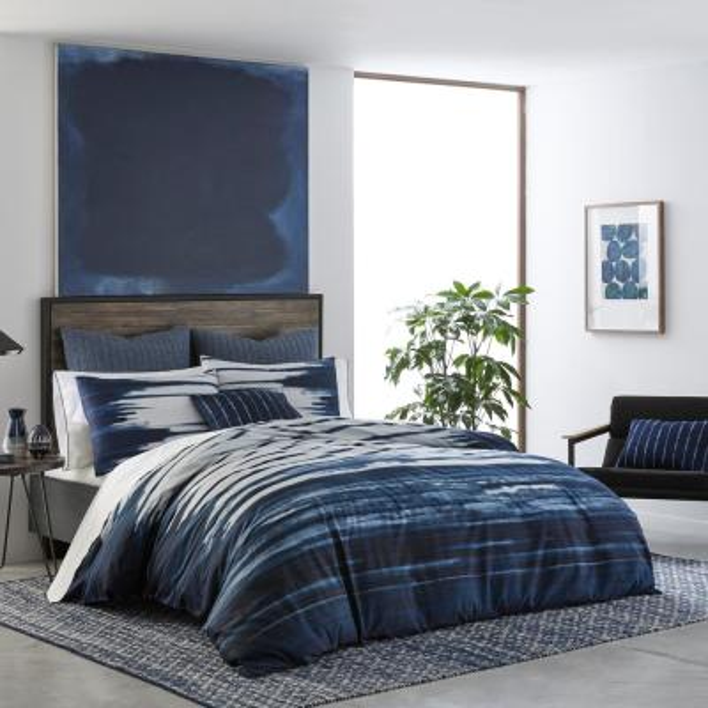 Shibori Print 3-Piece Navy Blue Striped Cotton King Duvet Cover Set