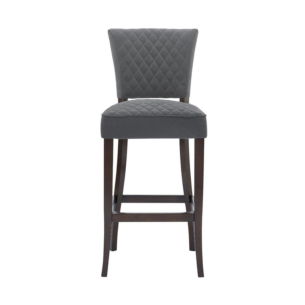 Cline Chocolate Wood Upholstered Bar Stool with Back and Charcoal Seat (19.69 in. W x 44.88 in. H)