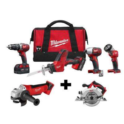 M18 18-Volt Lithium-Ion Cordless Combo Tool Kit (4-Tool) with Free M18 4-1/2 in. Grinder and 6-1/2 in. Circular Saw