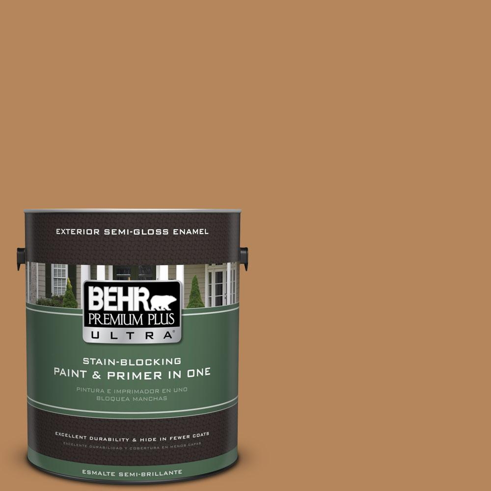 BEHR Premium Plus Ultra 1-gal. #S270-6 Almond Brittle Semi-Gloss Enamel Exterior Paint